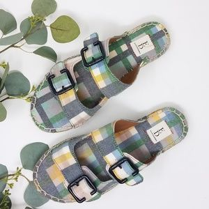 ELLEN DEGENERES Plaid SADIE Slip on Sandals 6.5